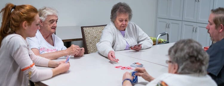 Greenwood Assisted Living Residents Playing Cards
