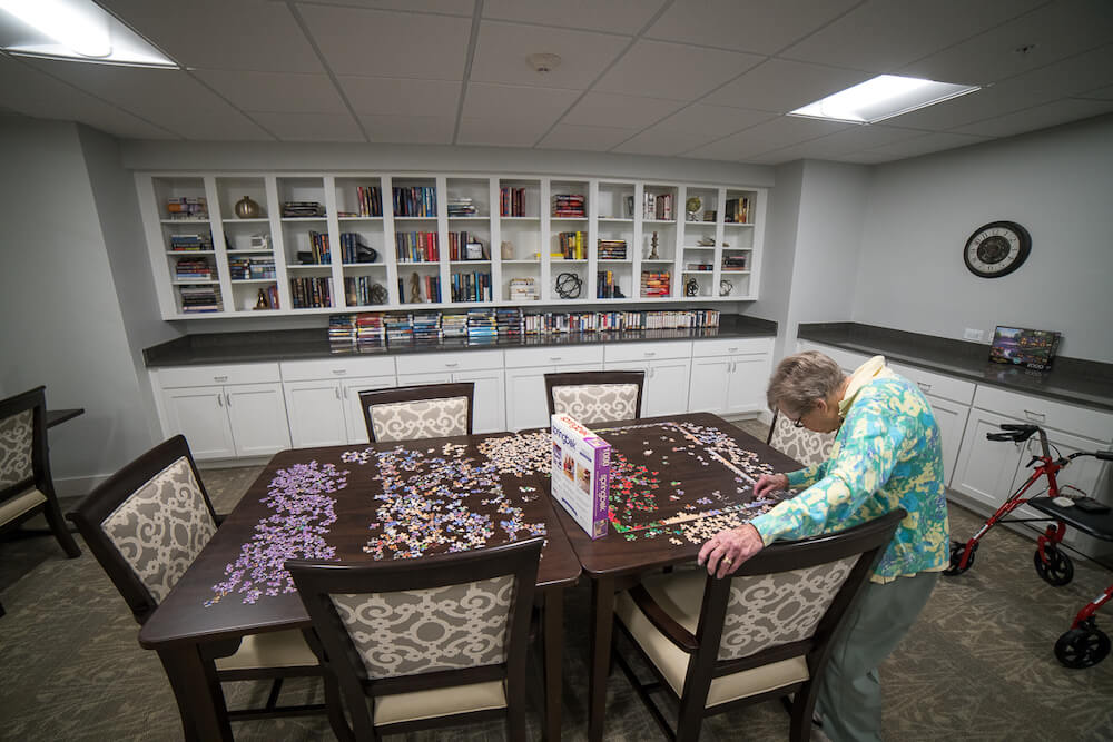residents doing a puzzle